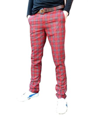 Tartan Chino - Trousers Slim Chinos Jeans - Red